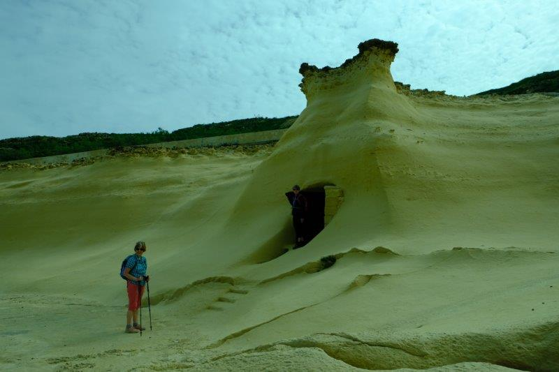 Sandstone cliffs hollowed out to make shelters