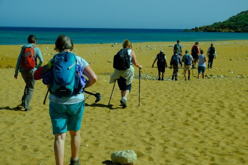 Our walk starting on a small beach of golden sand