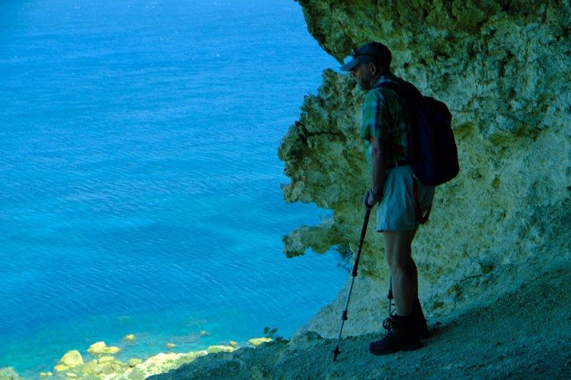 Peter studying the coast below
