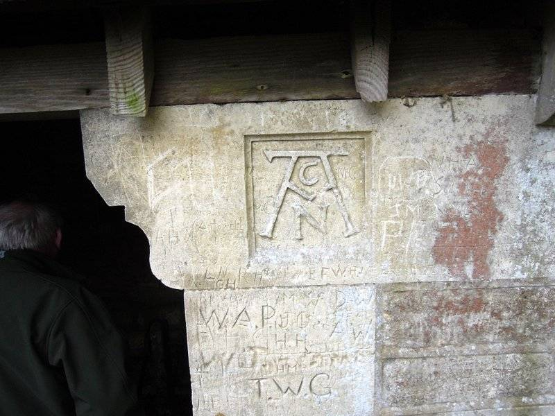 With interesting carvings and graffiti