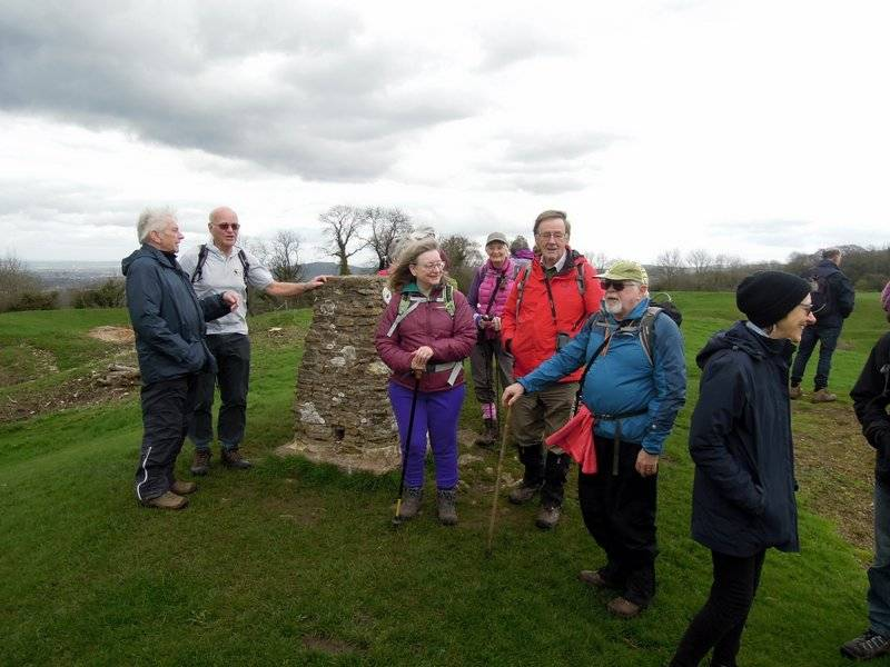 We all pause on Haresfield Beacon, including our backmarker John in blue