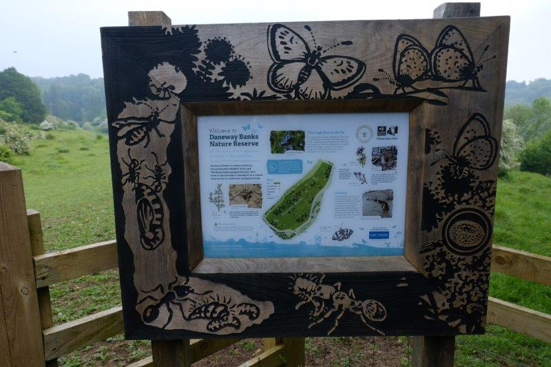 A quick look at an information board and most of the group head for  Siccaridge Woods