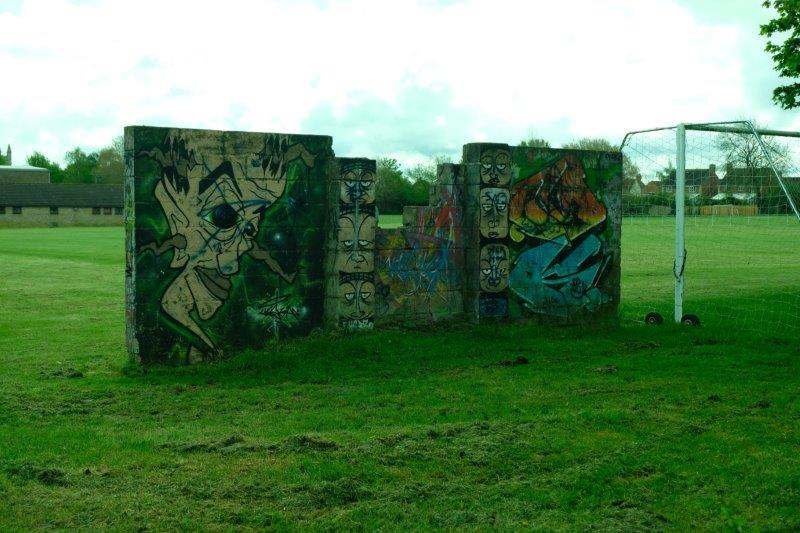 Reaching Cricklade - the Leisure Centre - looks like the graffiti  artists have been busy