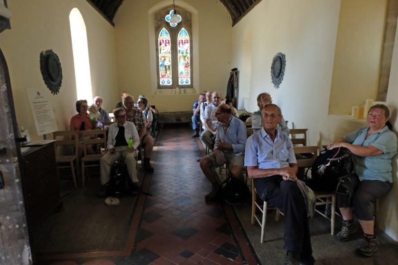 Reaching Ozleworth church where we stop for a new feature of our walks,  a short service