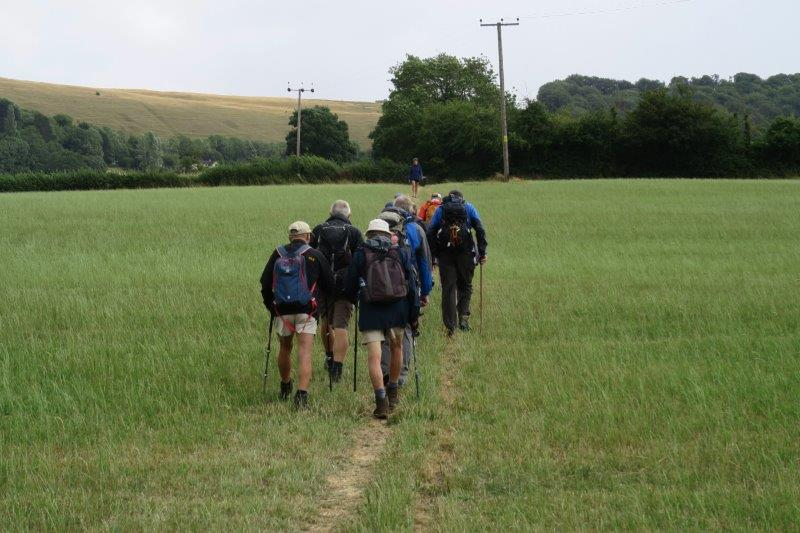 We set off across fields on the Cotswold Way