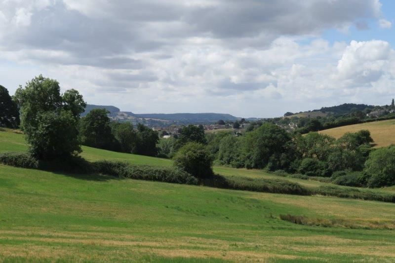 Views down the valley to Frocester Hill and Cam Long Down