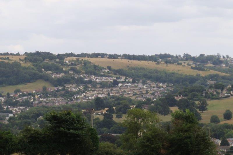Views across to Kingscourt and Rodborough Common.