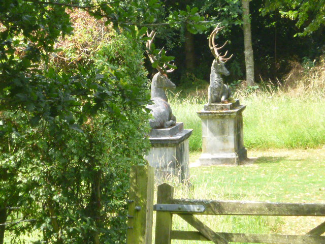 With stag statues