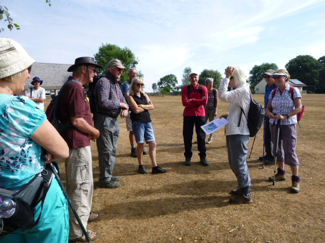 Nineteen people turn up to a parched playing field on a very hot day for Jill and Sue's walk