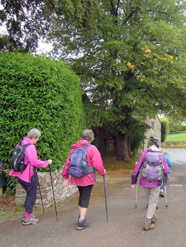 Margaret leads off a select group. Slad Road is blocked by Severn Trent and we have found another route.
