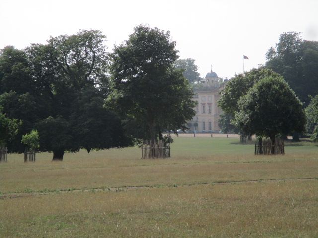 Badminton House in the distance