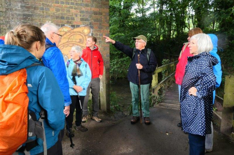 Tim stops under the viaduct to show us some items of interest