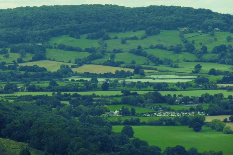 Looking down the valley to Witcombe Lakes