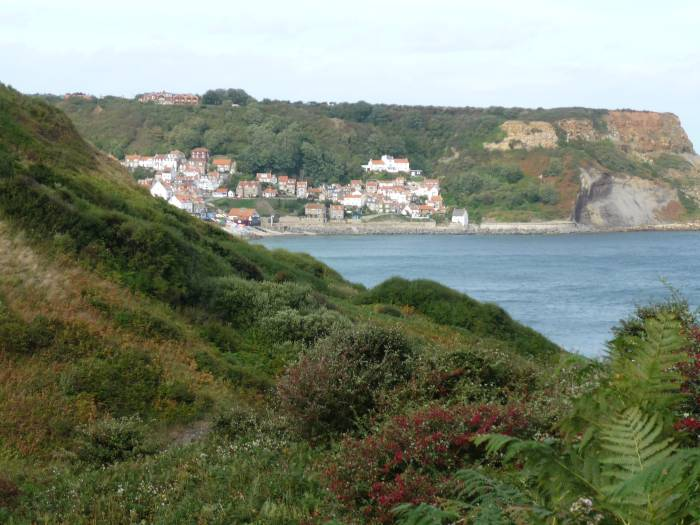 Ahead is Runswick Bay, our lunch stop