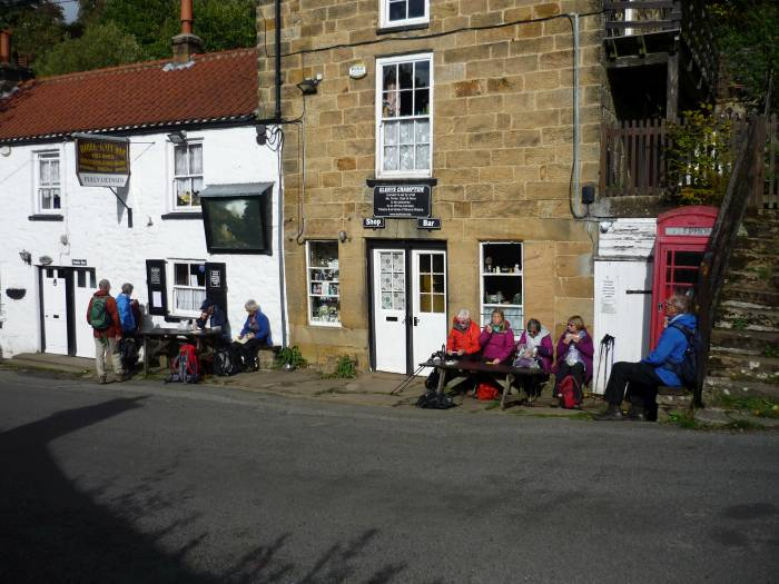 The pub is closed but we eat our lunch in the sunshine