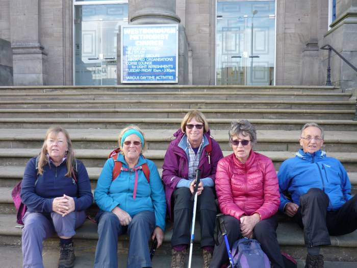 At the end of the walk we await the minibus