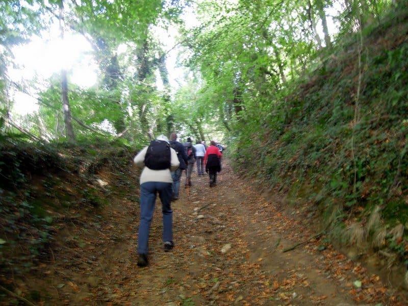 Up to Tresham village on the hilltop.
