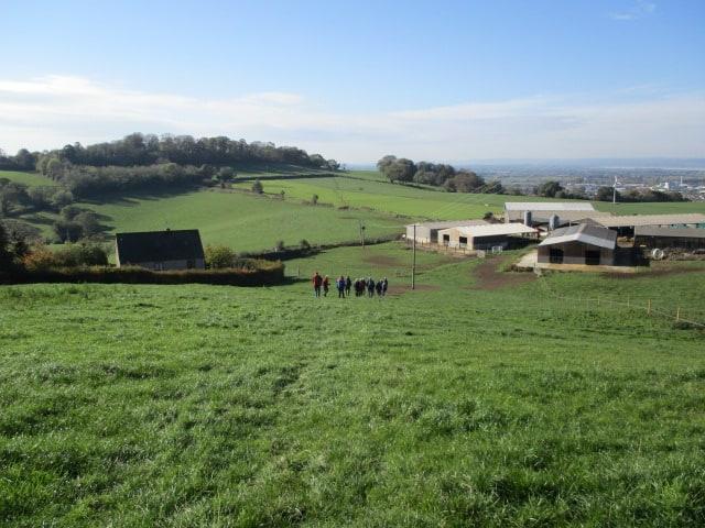 Heading downhill to the farm