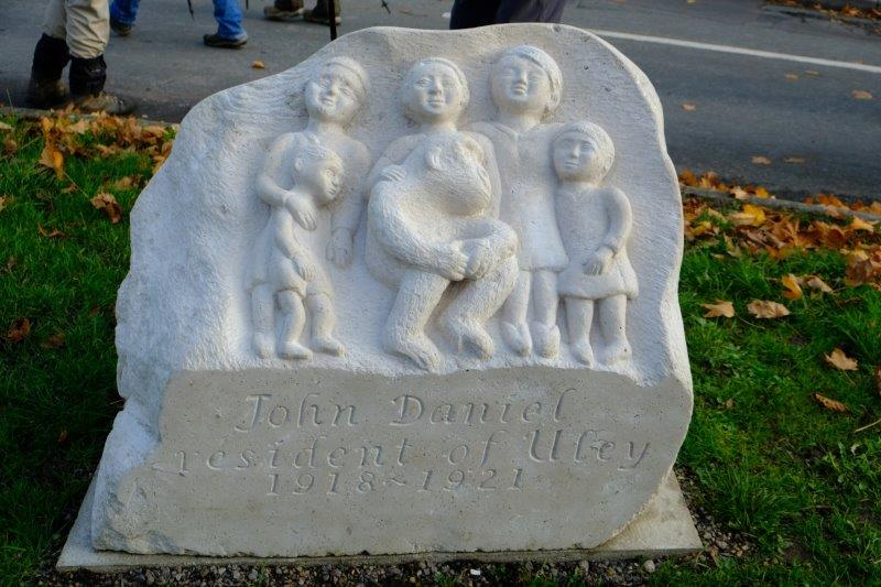 Out to the village green and the new memorial to the gorilla
