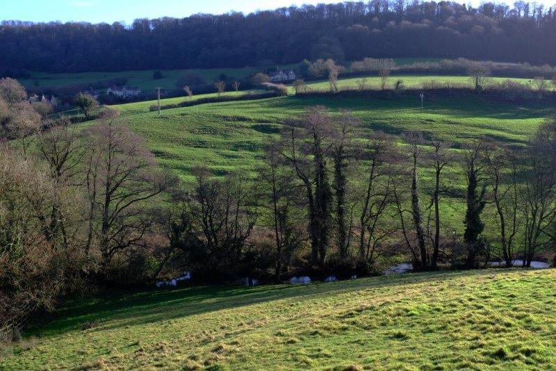 Walking down the Slad Road, Slad Brook in the valley