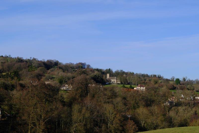 Looking across to Pitchcombe Church