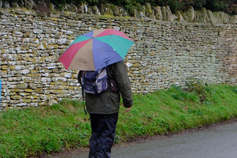 Ray cuts a lonely figure as nobody wants to follow a leader with an  umbrella like that