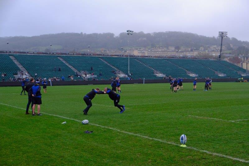 Past Bath rugby ground where they are busy training for Sunday's match
