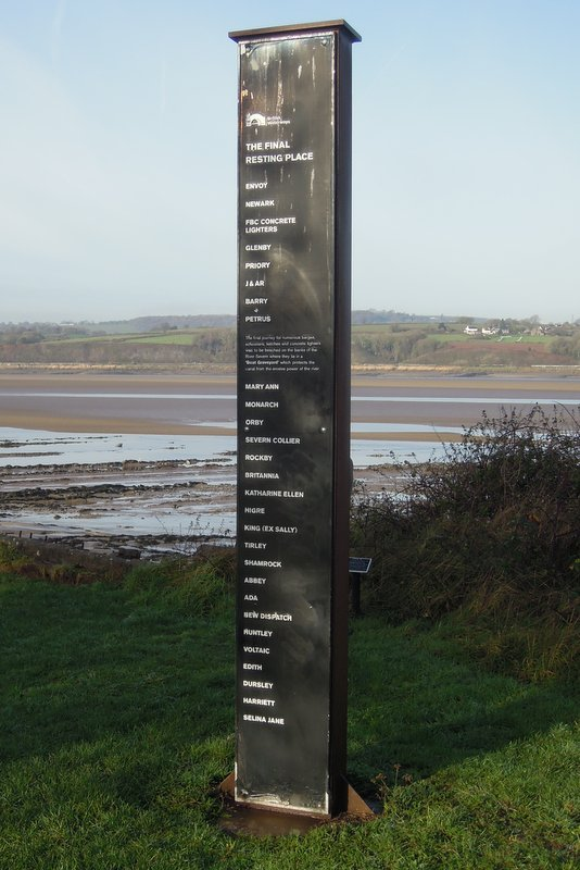 The Purton Hulks, with names of the boats beached here to stop erosion