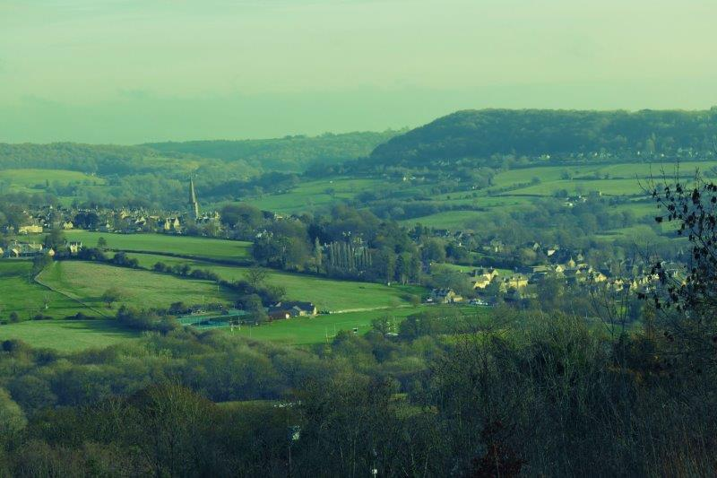 Spire of Painswick Church in the distance