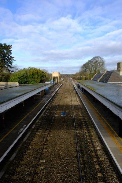 Crossing the railway at Kemble Station