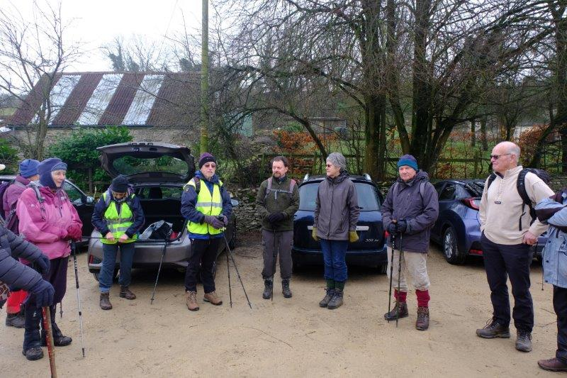 Car park of the Crown at Frampton Mansell. Mike leading a replacement for Jacqui's walk