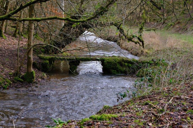 Past a clapper bridge