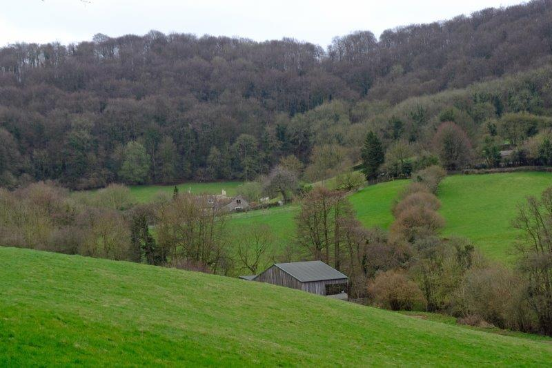 And farmhouses nestling in the bottom of the valley as we make our way  uphill