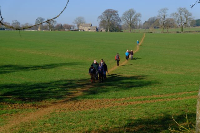 We leave Bisley across fields