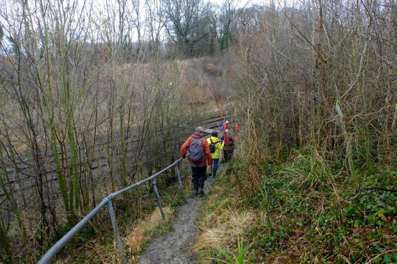 A steep descent to the railway