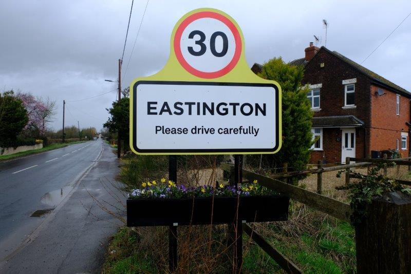 Colourful display at entrance to Eastington