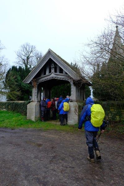 Reaching the old Frocester Church