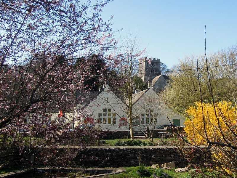 Spring has arrived in Avening - view of the school and church