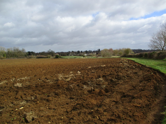 A well-ploughed field. Good job we can walk round the edge.