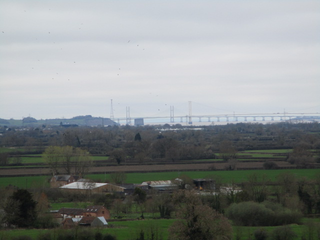 The Severn Bridges in the distance, busy without the tolls