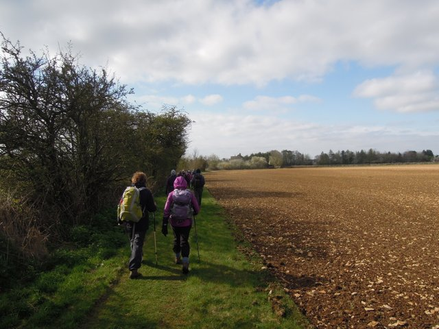 We leave the road onto a mown footpath