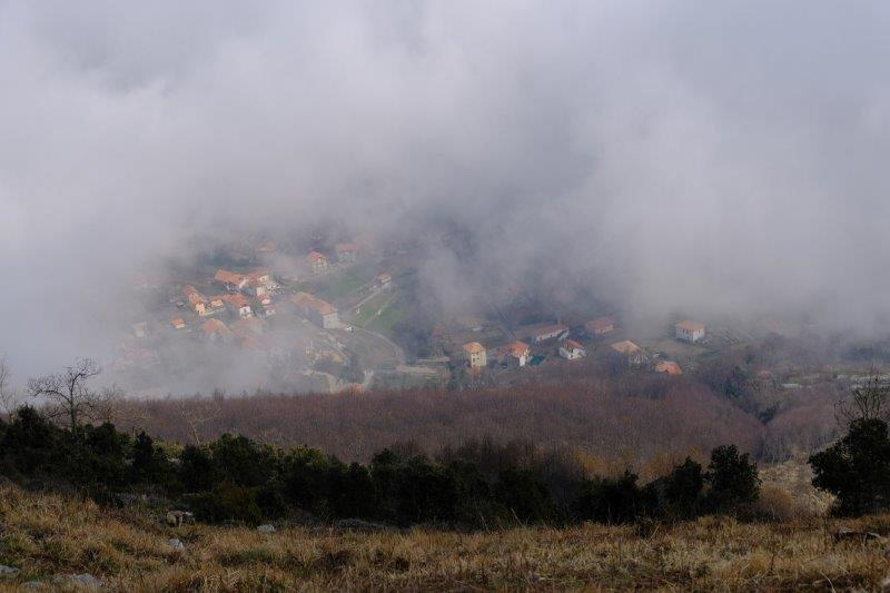 Then looking down on Bomerano and the surrounding villages as they  appear through the mist