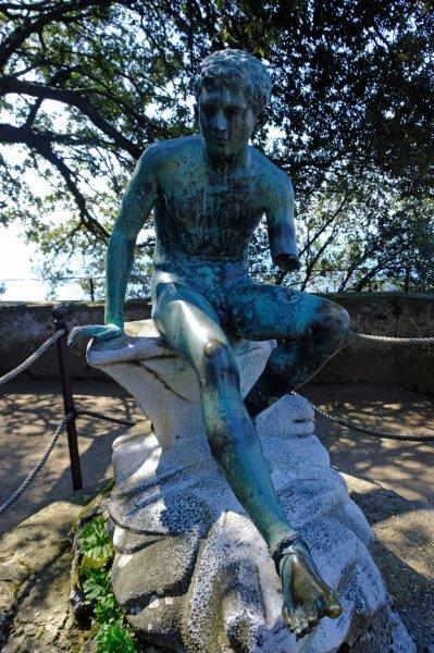 Mercury's seat with 18th Century bronze statue 'Hermes at Rest'