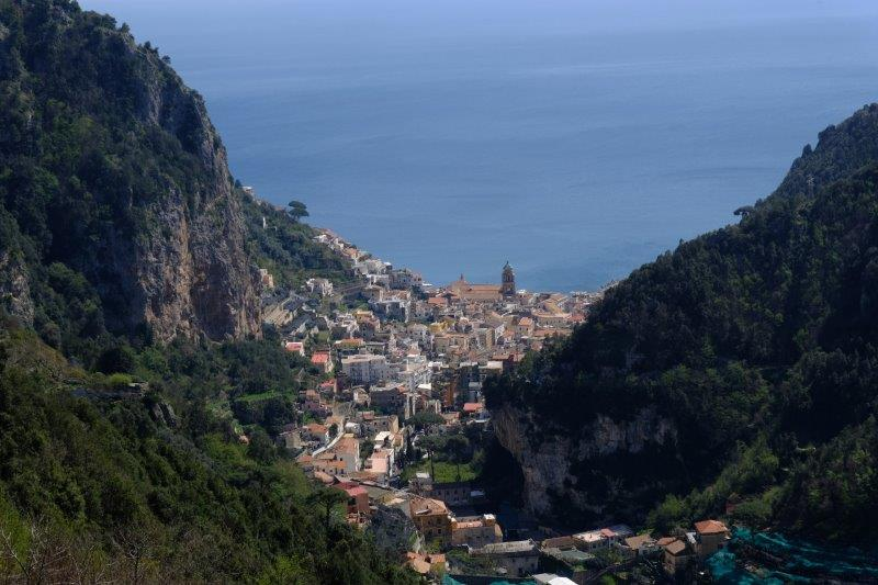 Looking down on Amalfi