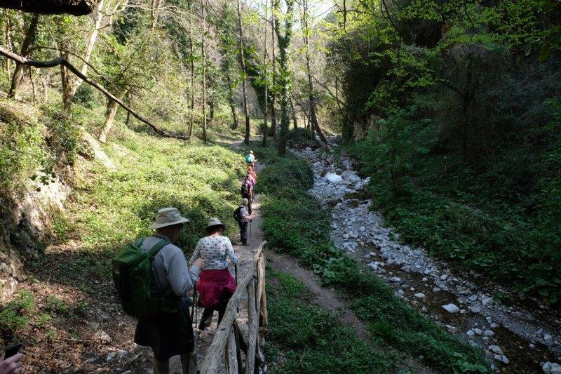 We follow the stream downhill