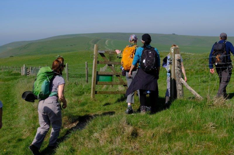 A gate takes us out onto the Downs