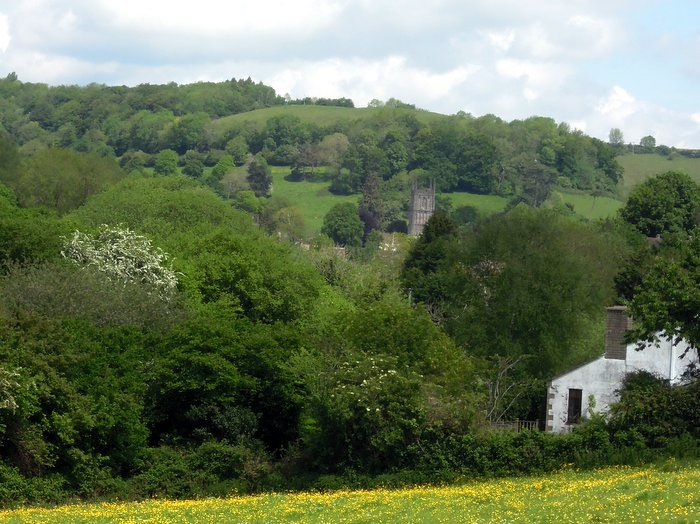 Wotton Parish Church looks all on its own from this point - but all the nearby houses are hidden