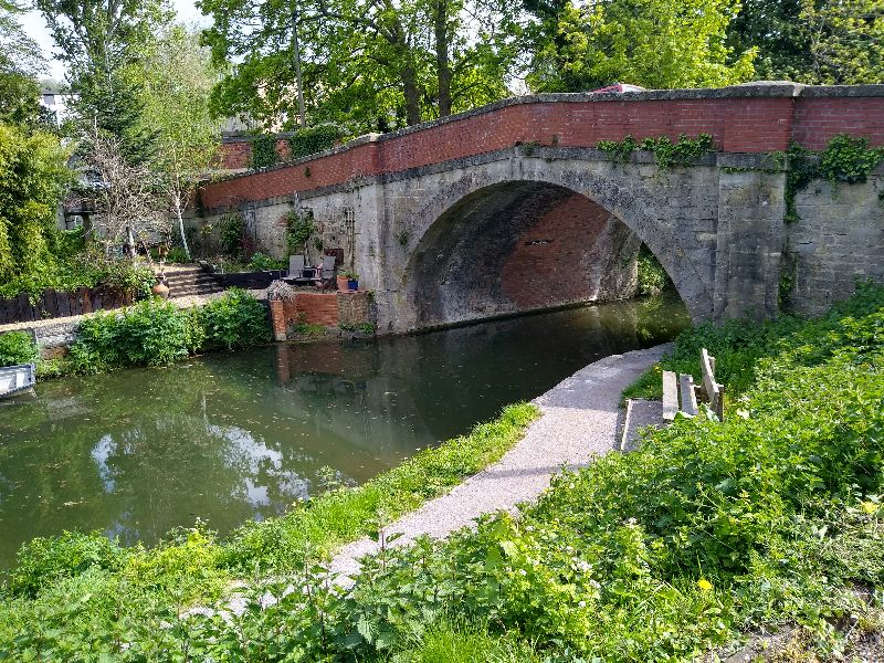 Under this bridge, as we join the canal towpath