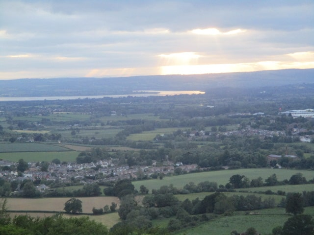 As we near the top, we can the sun over the River Severn