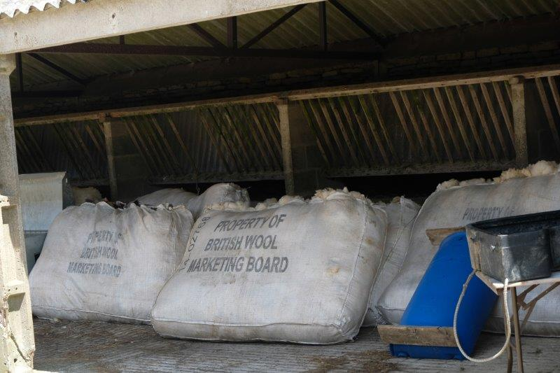 A barn containing the season's crop of wool